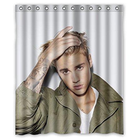 Badezimmer Dusche Vorhange Justin Bieber Musik Sanger Promi 180x180 Cm Umweltfreundliche Wasserdichtes Gewebe Duschvorhang In
