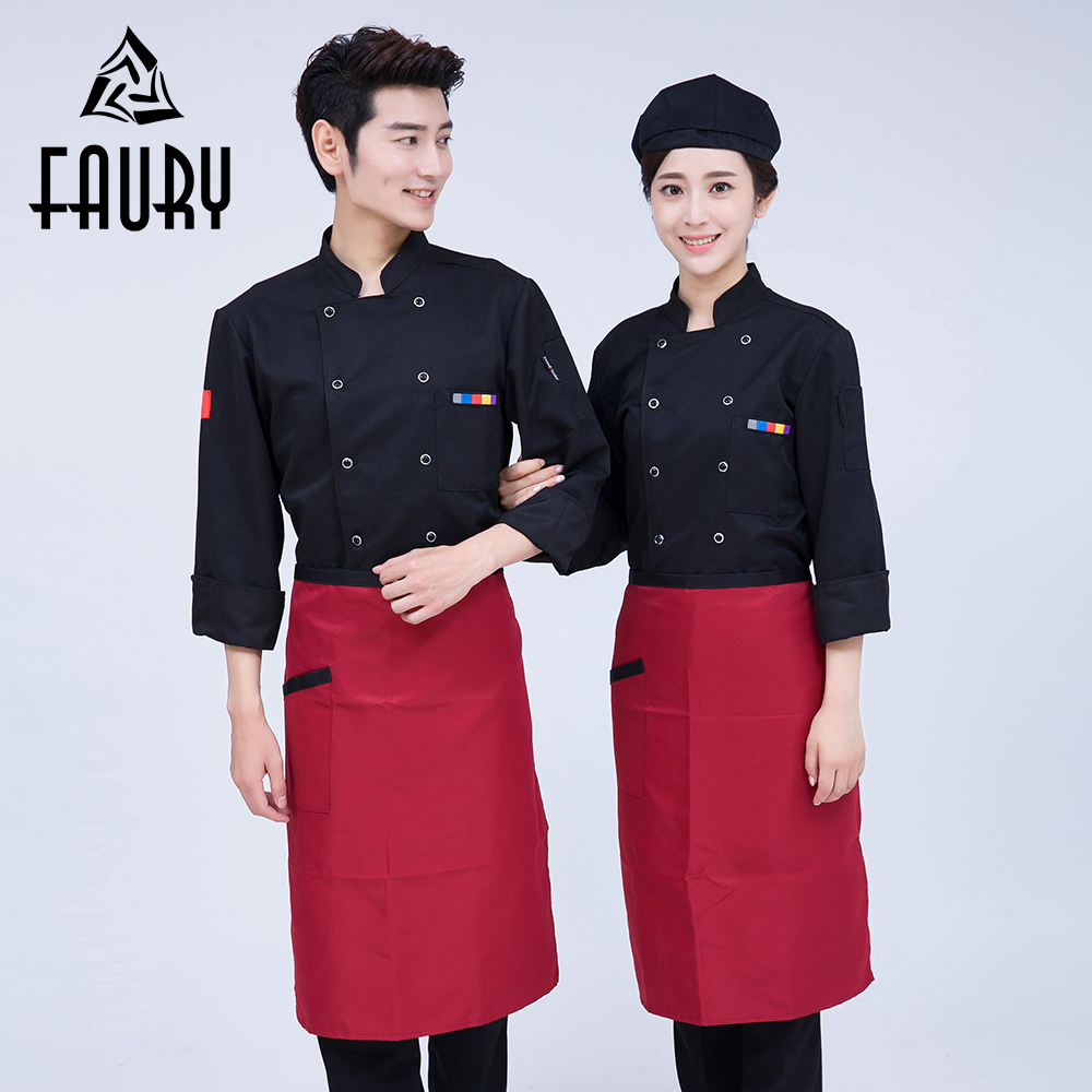 Women Men Double Breasted Long Sleeve Chef Work Clothing Hotel Restaurant Waiter Uniforms Cook Overalls Cozinha Kitchen Jackets