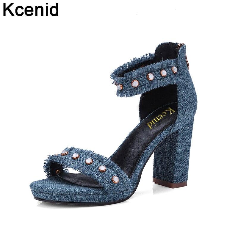 Kcenid nouvelles chaussures d'été femmes talons hauts denim sandales à bout ouvert mode perles cheville sangle chaussures femme arrière zip plates-formes pompes