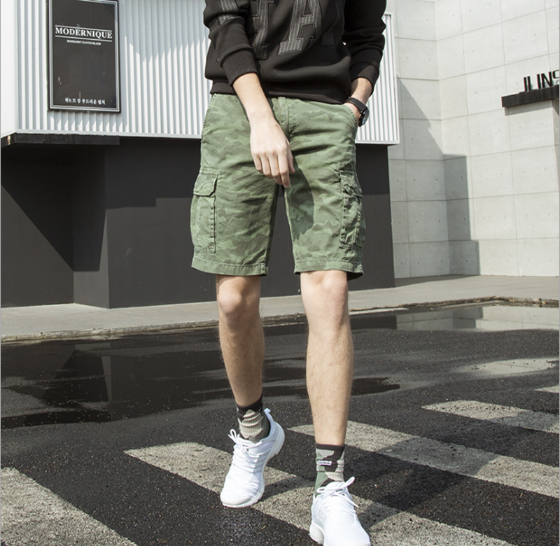 New Design Knee Length Trousers Men Summer Military Cargo Mens Shorts Casual Loose Camouflage Printed Man Short Dropshipping