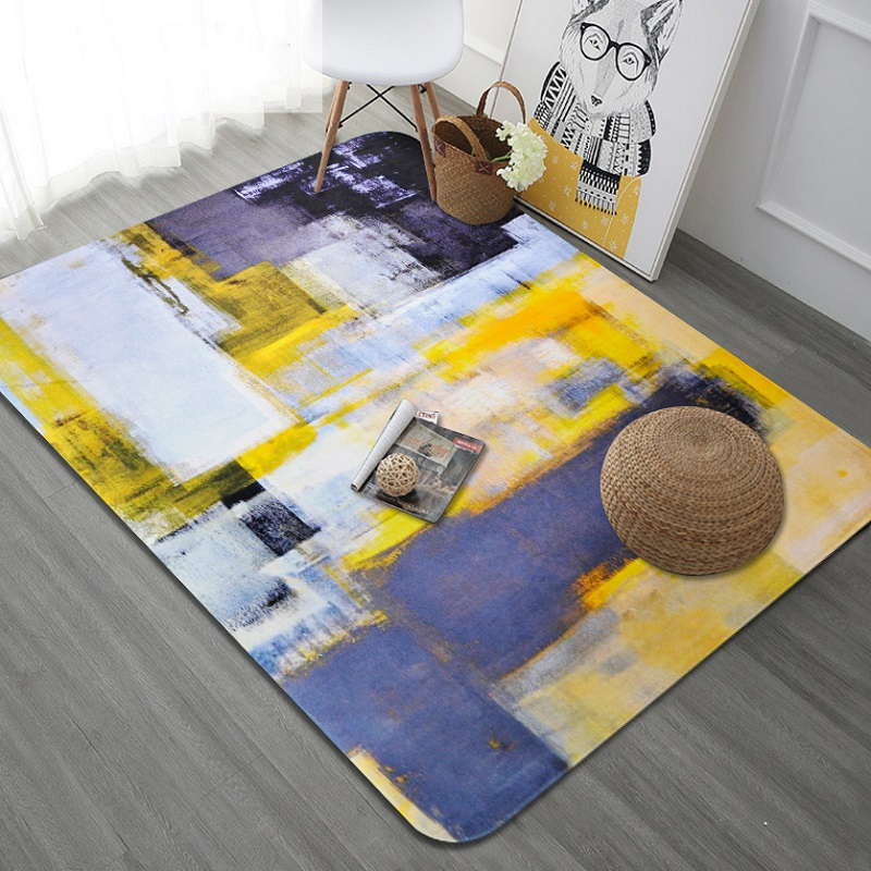 Encre jaune vif graffiti tapis Art série grande taille tapis salon floormat chambre baie fenêtre tapis antidérapant imprimé tapis