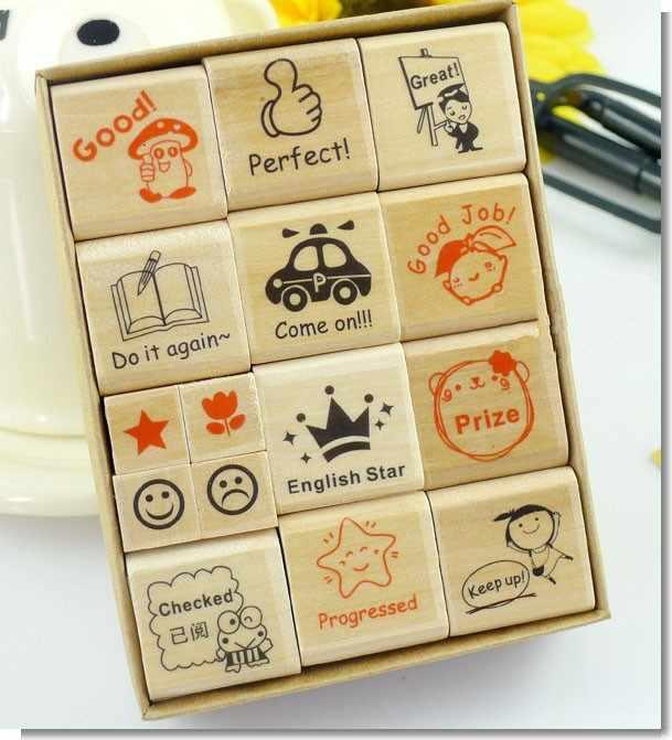Новое поступление 2019 15 шт./лот дерево английский штамп мультфильм для детского сада медсестра школа учитель отзывы учитель штамп для родителей