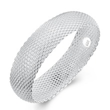 цена на 6.5cm 925 Sterling Silver Bracelet Big Closed Net Fashion Round Shape Silver Bracelets & Bangles For Women Bangle Cuff Chain New