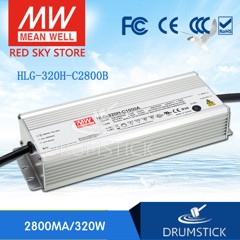 Hot sale MEAN WELL original HLG-320H-C2800B 57 ~ 114V 2800mA meanwell HLG-320H-C 319.2W LED Driver Power Supply B Type genuine mean well hlg 320h 36b 36v 8 9a hlg 320h 36v 320 4w single output led driver power supply b type