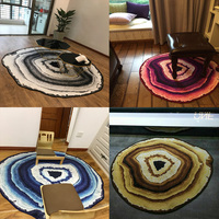 Abstract Art Floor Mat Geometric Irregular Annual Ring Rug Milan Style Persian Rug Washable Scandinavian Kitchen Big Carpet