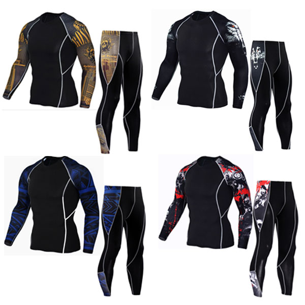 New Men Thermal Underwear Sets Compression Fleece Sweat Quick Drying Thermo Underwear Men Clothing Long Johns(China)
