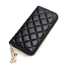 2018 Women Wallets Leather Womens Wallets and Purses Woman Zipper Long Wallet Plaid Women Phone Bag