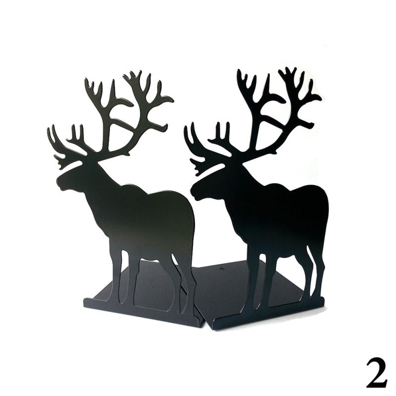 Deer Reindeer Bookends Book Stand Paint Iron Student School and Office Stationer