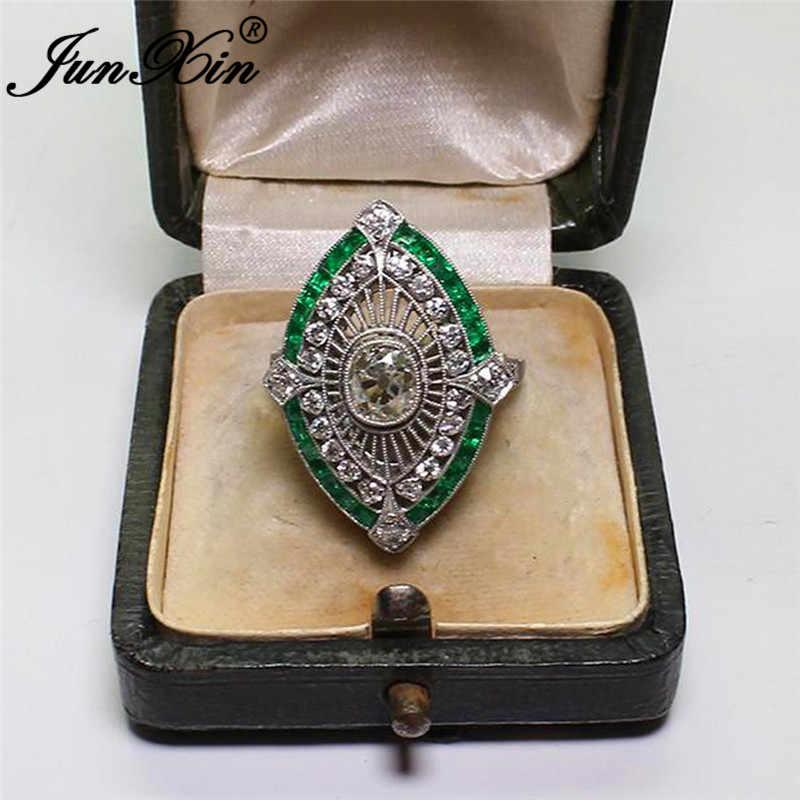 JUNXIN โบราณ 925 เงินสเตอร์ลิงที่เต็มไปด้วยหินสีฟ้า Marquise ใหญ่แหวนผู้หญิงผู้ชายวินเทจสีเขียว Zircon Charm งานแต่งงาน