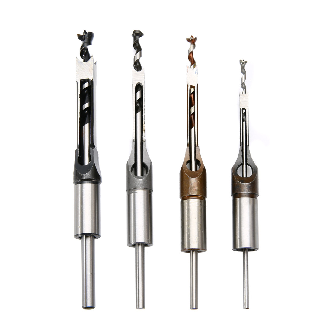 4pc HSS Twist Drill Bits Mortising Chisel Square Hole Mortiser Drill Bit for DIY Woodworking Tools 4pcs woodworking square hole drill bits wood mortising chisel set mortise chisel bit kits woodworking hole saw sets with twist