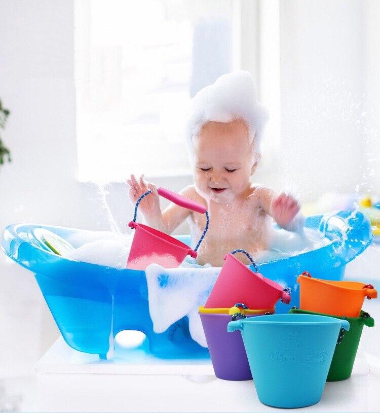 Baby Kids Beach Bucket Shower Bath Toy Silicone Folding Hand-held Barrel Toy Water Spraying Tool Baby Children's Toy