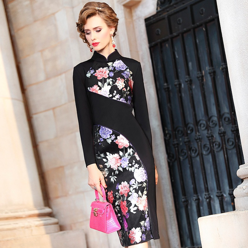 Pencil Office Lady dress Runway 2019 new Chinese Style Patchwork Women Vintage Party Dress Plus Size