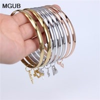 MGUB 3 color 7pcs hanging small accessories 316L stainless steel classic bracelet female exquisite smooth comfortable LH366