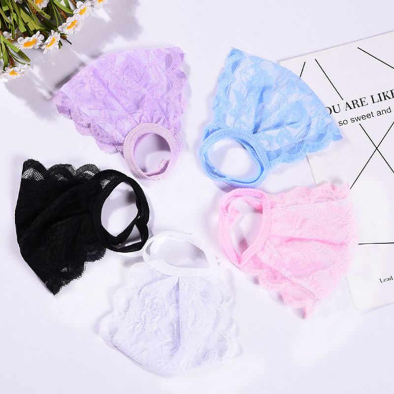 Women Girl Summer Sunscreen Double Layer Mouth Mask Crochet Floral Lace Solid Color Dustproof Breathable Thin Earloop Respirator