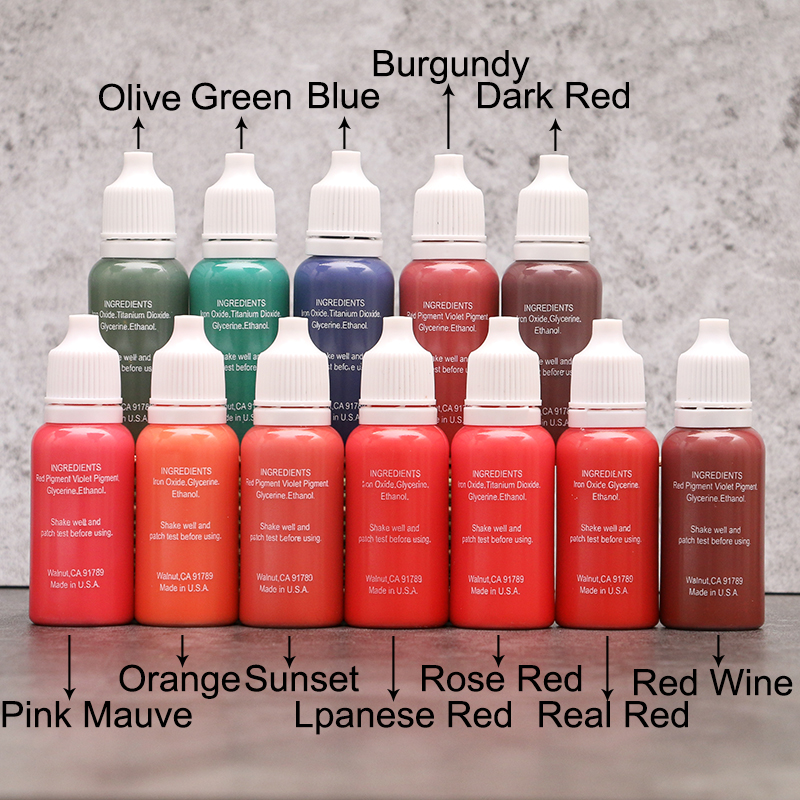 23Pcs Ink Permanent Makeup Pigment 15Ml Cosmetic 23 Color Tattoo Ink Set Paint For Microblading Eyebrow Lip Body Makeup permanent makeup pigment color tattoo ink kit 14 colors micropigment makeup bloodline tattoo pigment set 30ml