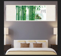#S075 Cuizhu Chinese Painting Bamboo Newspaper Ping'an Fengshui Hanging Scroll Painting Silk Painting