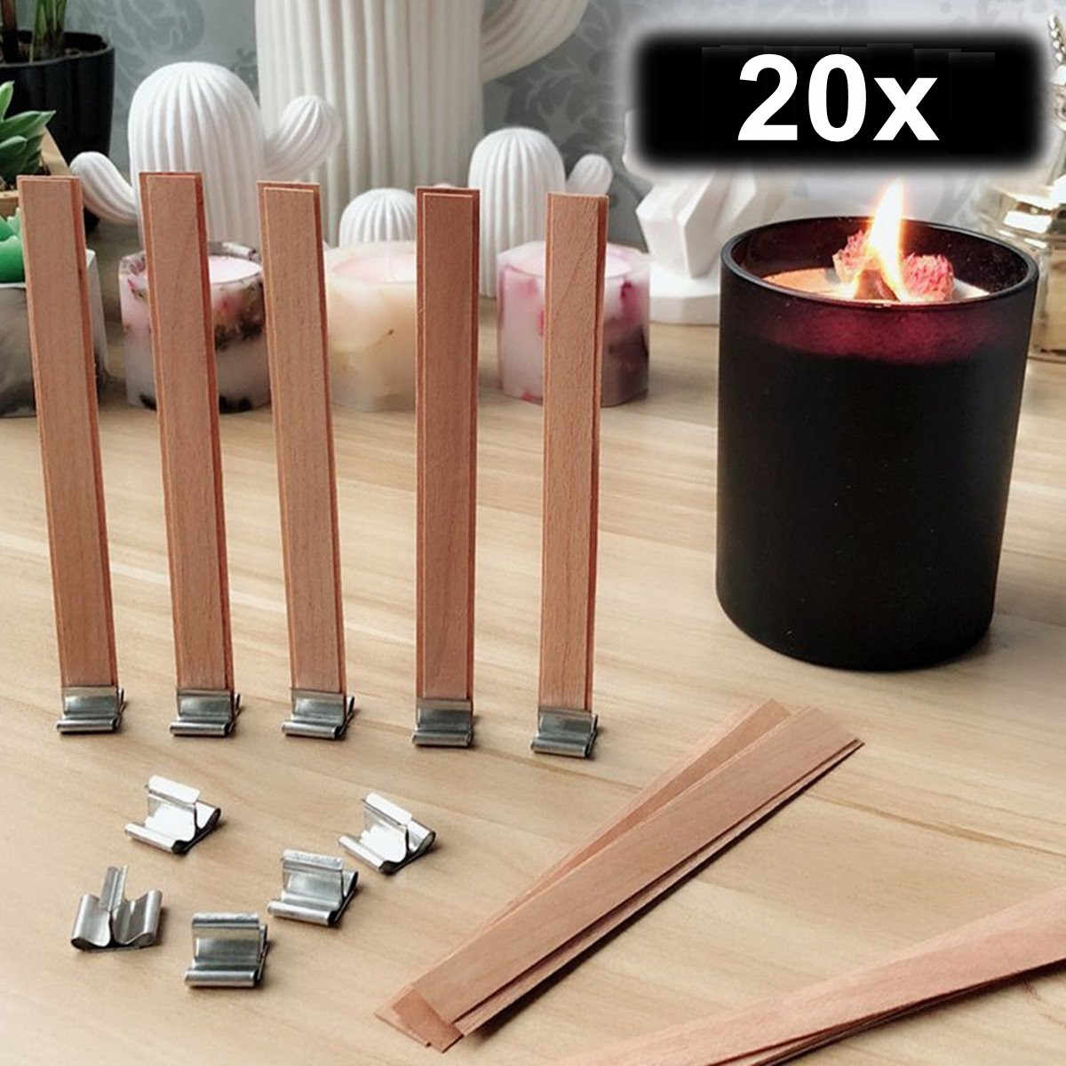20Pcs 5 Size Handmade Candle Wood Wick with Sustainer Tab DIY Candle Making Supplies Wax Wick Core 20 Fixing Base For Wedding