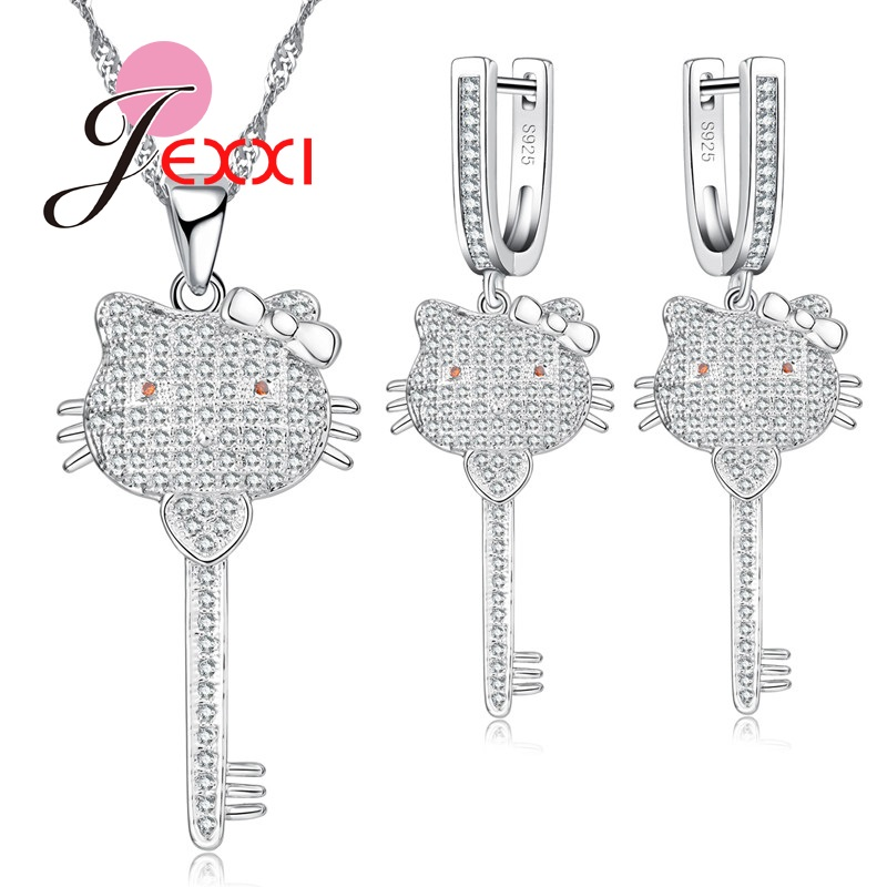 Earrings Jewelry-Sets Pendant-Neckalce Crystal Animal-Head Cubic-Zircon 925-Sterling-Silver