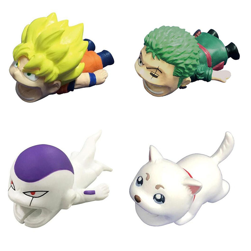Cable Bite Protector Dragon Ball Figure Roronoa Zoro Son Goku One Piece Chopper Luffy Stitch Kitty Cable Animals Bite Protector