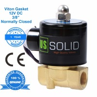 U.S. Solid 12v Fuel Solenoid Valve 3/8 Brass Electric Solenoid Valve 12V DC for Air, Gas, Normally Closed CE