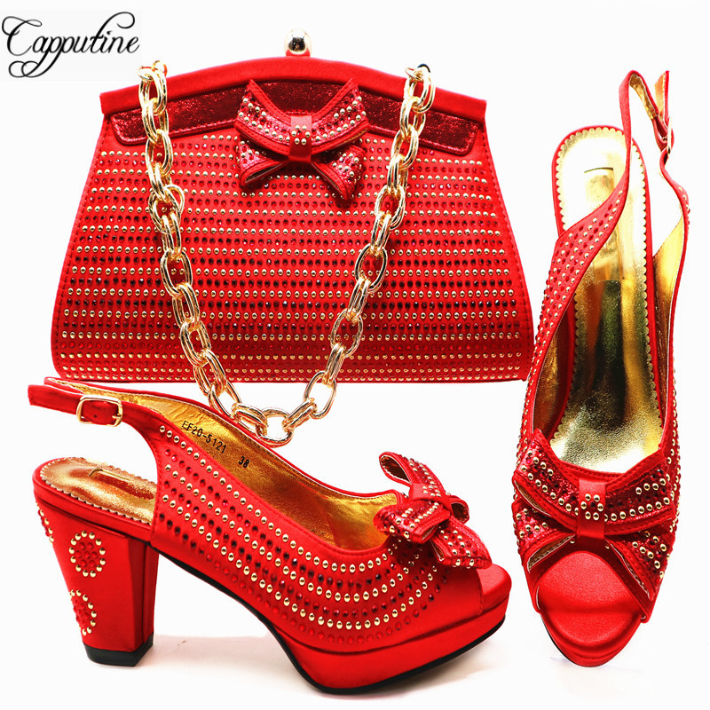 Capputine New Arrival Italian Shoe With Matching Bags African Pumps Shoes And Bag Set For Party In Women Italian Shoes G54 capputine african style crystal shoes and matching bag set for party fashion women pumps slipper shoes and bags set size 37 43