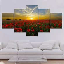 Frame Modern Red Rose HD Printed Canvas Painting Flower Wall Art Modular for Living Room Prints 5 Panel