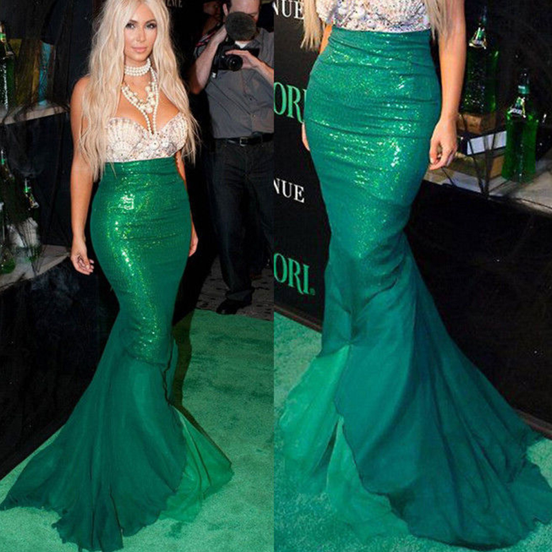 Image 2 - YiZYiF Sequined Mermaid Skirt Halloween Cosplay Mermaid Costume Maxi Skirt Anime Little Mermaid Ariel long green Skirt Women-in Movie & TV costumes from Novelty & Special Use