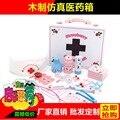 Médicos y enfermeras médico botiquín simulación de madera kit niños play toys