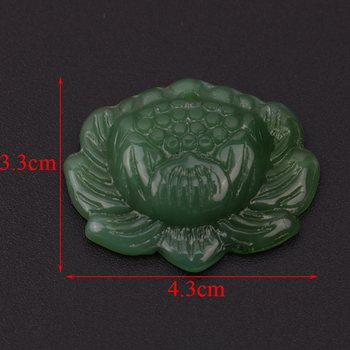 Vivid Hand-carved Lotus Flower Natural Green Jadeite Jewelry Pendant image