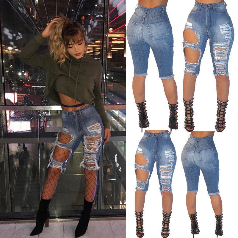 2018 Fashion Korean Women Female Big Hole Knee Length High Waist Jeans Stretch Feet Pencil Blue Pants Jeans