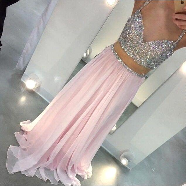 Sexy Crystal Beaded Two Piece Prom gown Spaghetti Straps A-line Chiffon vestidos robe de soiree Long   bridesmaid     dresses