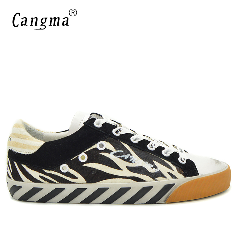 CANGMA 2017 New Handmade Retro Style Horsehair Men Sneakers Casual Shoes Genuine Leather Brand Man Flats Breathable Zebra Shoes
