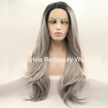 black/silver grey ombre natural straight synthetic lace front wig premium grey straight wig with dark roots heat resistant fiber