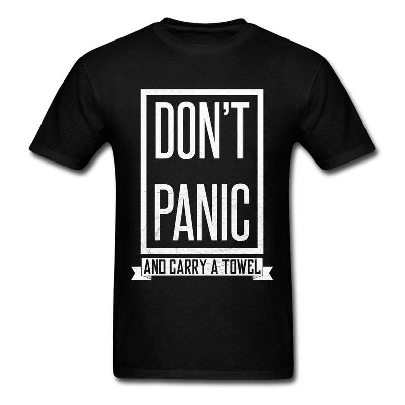 Awesome T Shirts Broadcloth Dont Panic O-Neck Short-Sleeve Mens T Shirt