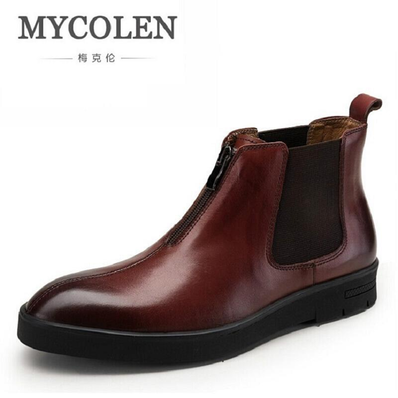 MYCOLEN Mens Genuine Leather Ankle Boots Autumn Winter High Top Zipper Men Shoes Pointed Toe Wedding Shoes Man Luxury Product autumn warm plush winter shoes men zipper 100% genuine leather boots men thick bottom waterproof black high top ankle men boots