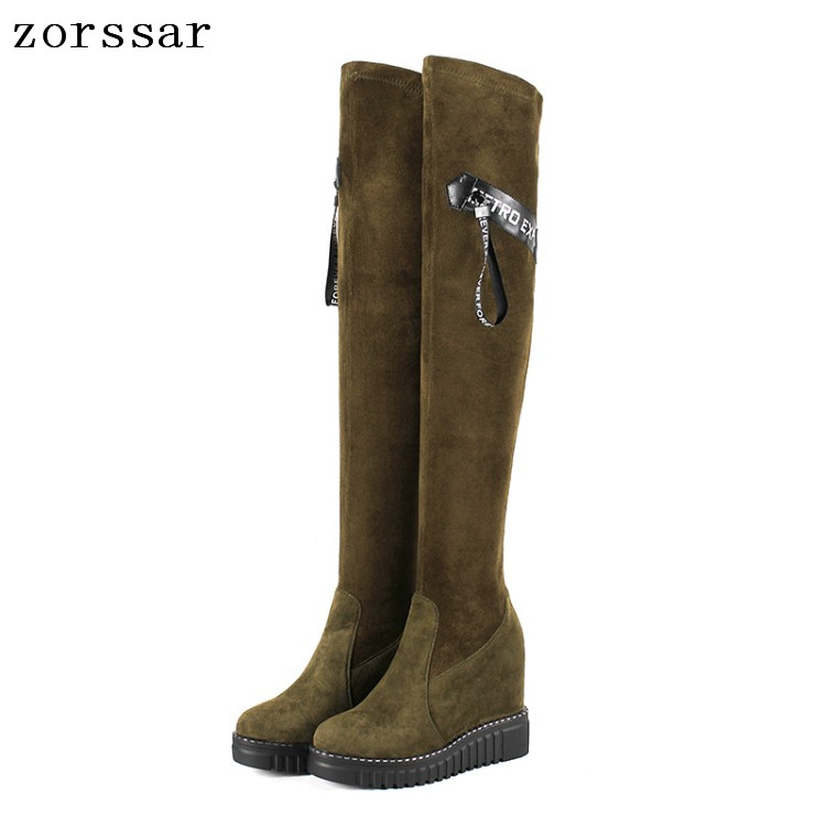 {Zorssar} High Quality Kid Suede Leather Women High boots Women Over The Knee Boots High heels Women Shoes Winter Fur Snow Boots цена 2017
