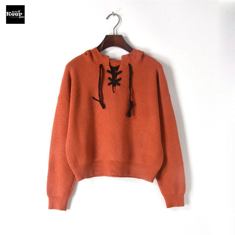 2018 New Fashion Sweater Female Pullovers Batwing Sleeve Hooded Lace up Knitted Sweaters Pullover Runway Designer Tops Jumper
