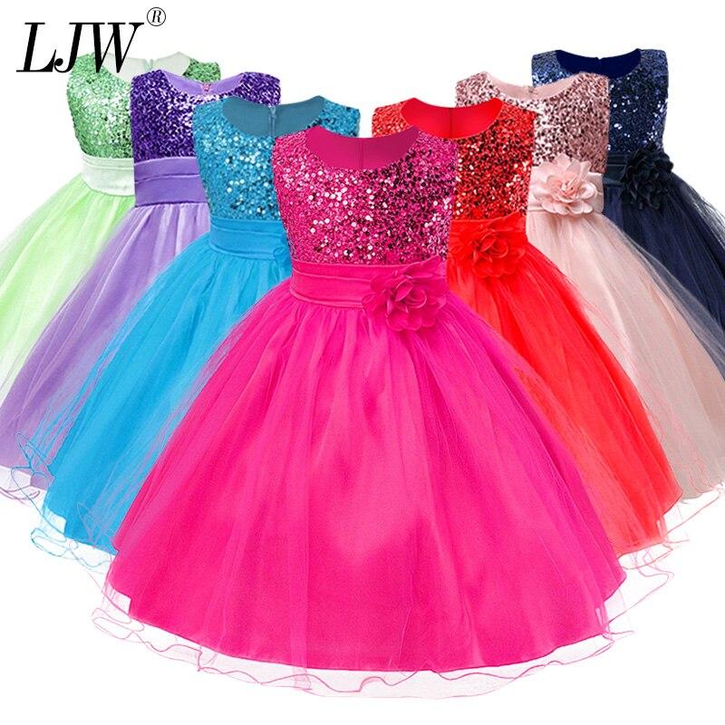 3-14yrs Venta caliente bebé de las niñas lentejuelas vestido de fiesta, de alta calidad, princesa vestido de niños ropa de niños de 9 colores