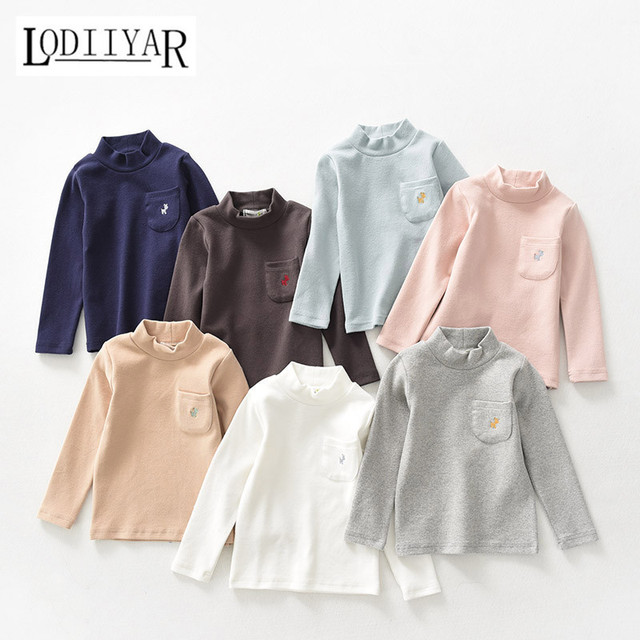 Clothing Children Baby Boys Girls Clothing Infant Cotton Casual Solid T-shirt Long Sleeve Top Tees Bottoming Shirt Autumn Spring