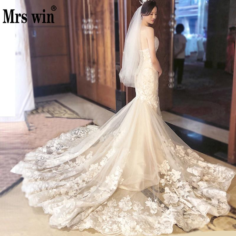 Mermaid Wedding Dress 2019 Mrs Win The Bridal Sexy Strapless Chapel Train Trumpet Dress Princess Luxury Lace Embroidery Gown F