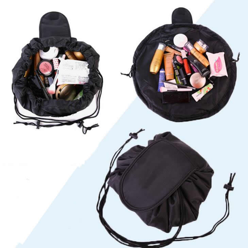 Travel Cosmetic Bag Professional Drawstring Makeup Case Women Make Up Handbag Organizer Storage Pouch Toiletry Wash Kit Bags