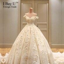 Beautiful Ball Gown Wedding Dresses Vestidos De Noiva De Luxo 2017 Handmade Turkey Wedding Dresses Islamic Bling Bridal Gowns