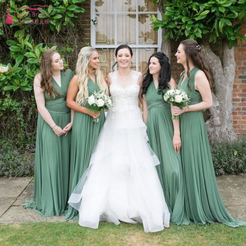 Convertible Long   Bridesmaid     Dresses   Green Jersey   Bridesmaid     Dress   New Fashion Popular Maxi Wedding Guest Party Gown JQ86