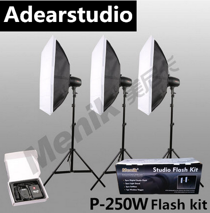 купить Menik P-250W Studio Strobe Flash Light Kit with Light Stand Softbox Flash Trigger for Video Shooting Portrait Photography NO00DC онлайн