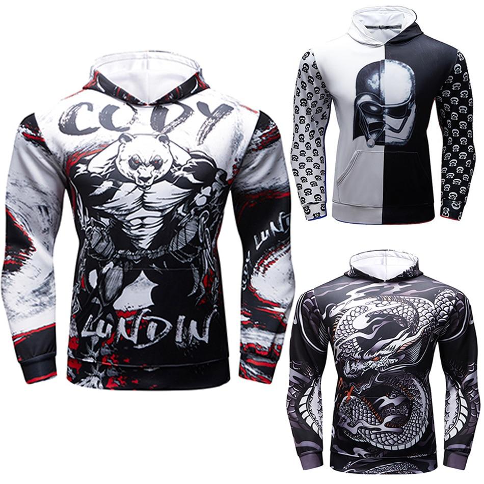 Mma Rashguard Long Sleeve Man T-shirt Hooded Bjj Fitness Pro Compression Shirts Sport Workout Crossfit Jiu Jitsu Boxeo Tee Shirt