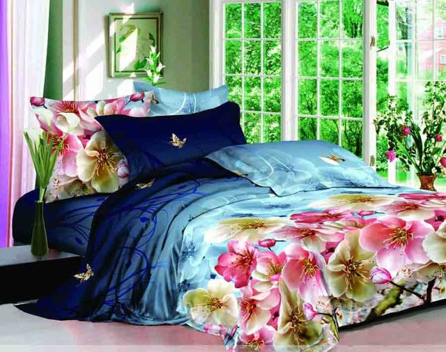 3d Gedruckt Pfirsichblüte Blume Hochzeit Bettwäsche Voll Queen Size Tröster  Setzt Ägyptischer Baumwolle 600TC Schlafzimmer