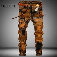 Большой размер 28-42 Мода Повседневная Марка Мужские джинсы Брюки Тонкий байкер Прямо деним длинные брюки Разорвал Грузовой вакеро hombre
