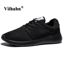 Viihahn Men Casual Shoes Black Color Flats Walking Shoes Men Breathable Zapatillas Shoes Plus Size 40-46
