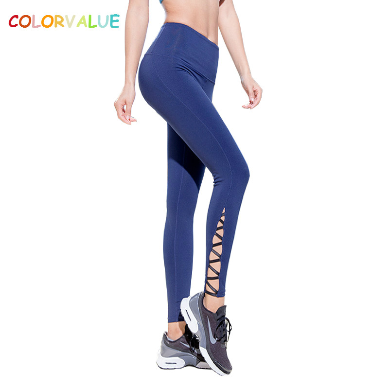 349803de8eee0 Colorvalue Elastic Plus Size Workout Gym Leggings Women Calf Cross Fitness  Yoga Pants Quick Dry High Waist Running Sport Tights-in Yoga Pants from  Sports ...