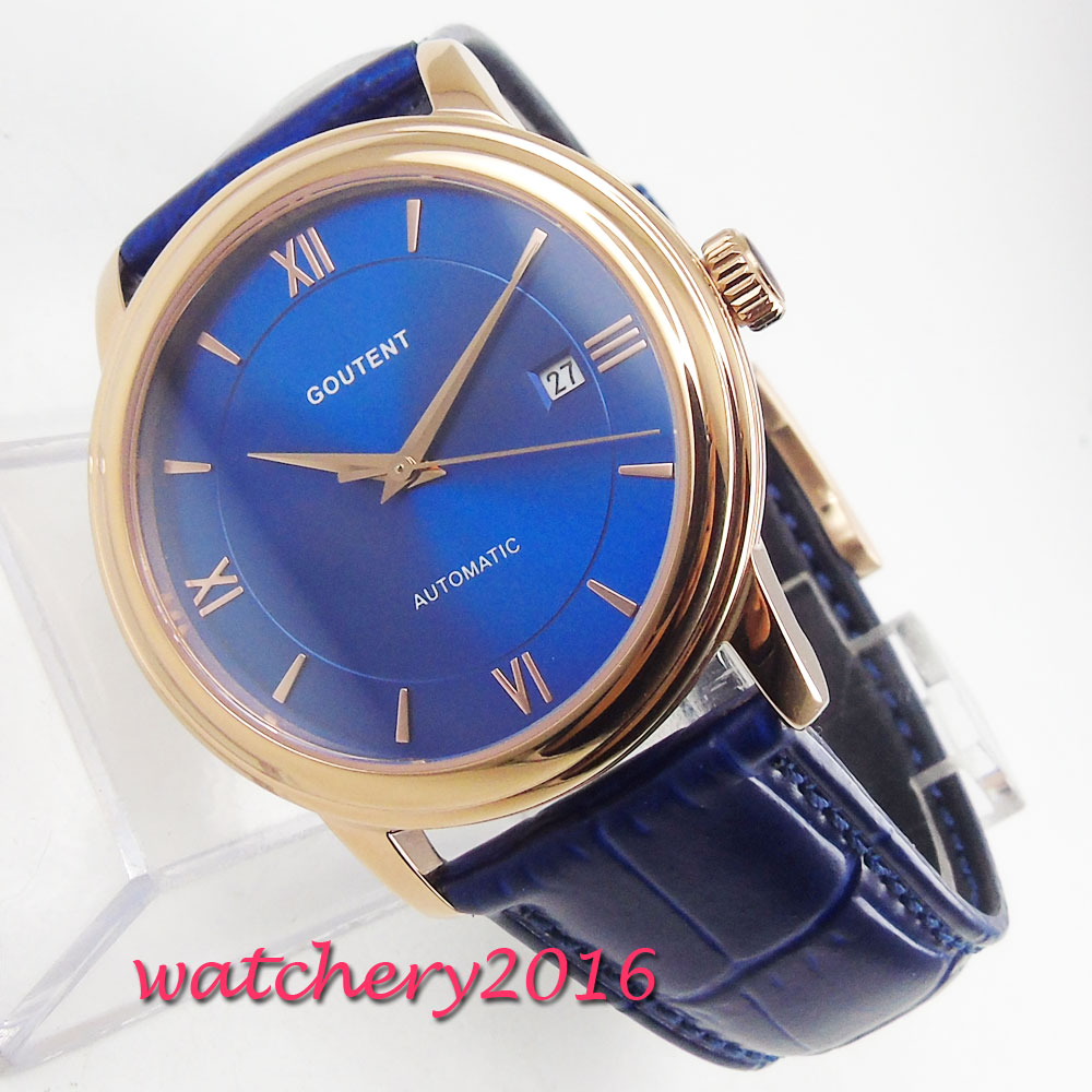 NEW Arrivel Coutent Blue Dial Sapphire Glass Rose Golden Plated Case Date Leather strap Miyota Automatic Movement mens WatchNEW Arrivel Coutent Blue Dial Sapphire Glass Rose Golden Plated Case Date Leather strap Miyota Automatic Movement mens Watch